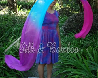 1 pc 2.5m*0.3m purple-turquoie-pink silk streamer, for dance or play, real light silk, intercangeable sticks