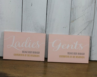 Ladies-Gents-Please Help Yourself-Compliments of the Newlyweds-Blush Board-White, Gray, and Gold Font