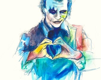 "Joker 12""x18"" Poster Print Heath Ledger DC Comic Print Wall Art Colorful Abstract Pop Art"