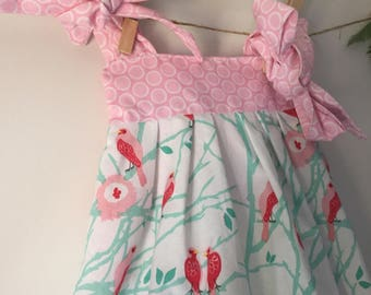 Size 1 Pink Bird Tie Up Sundress