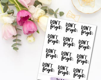 Don't Forget Lettering Planner Stickers - Mini Sheet