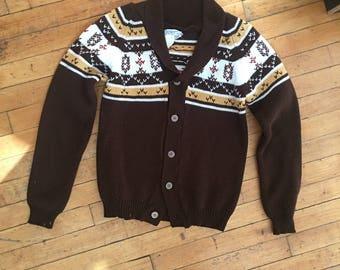 Vintage 70's Boys Brown Cardigan Sweater Size 16-18 L