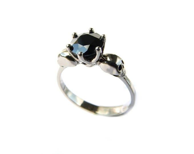 Black Diamond Solid White Gold Skull Engagement Ring Memento Mori Natural Diamond Ring Skull Ring Goth Engagement Psychobilly