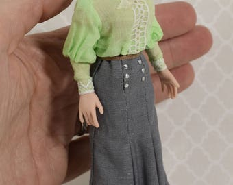 Miniature Porcelain Dollhouse Doll in 1:12 or 1/12th Scale-Edwardian Lady