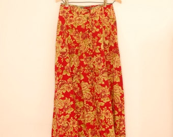 Red and Tan Floral Print Midi Skirt - Late 1980s