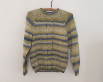 Pale Blue and Yellow Striped Pullover - Late 80s