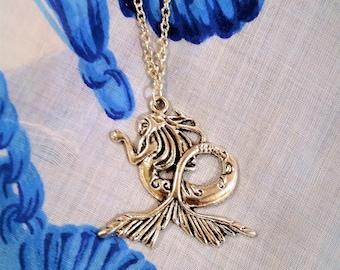 Mermaid pendant necklace - metal mermaid jewelry - metal mermaid pendant - silver chain necklace - mermaid jewelry - mermaid necklace