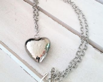 Rustic silver metal heart pendant necklace - heart jewelry - metal heart pendant - Valentines jewelry - hand beaten metal heart necklace