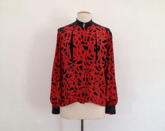 80s silk blouse vintage 80s clothing womens button up silk shirt 80s blouses abstract print geometric long sleeve shirt avant garde