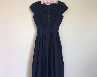 "1950's Navy Cotton Eyelet ""New Look"" Sundress"