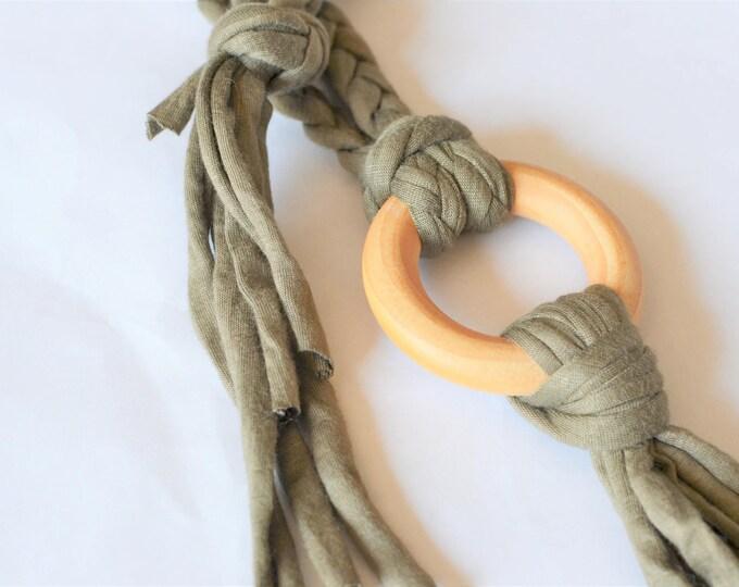 Green Tug & Pull Teething Tassel Necklace | Khaki Green Teething Necklace | Macrame Teething Necklace