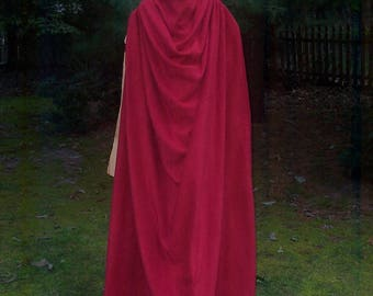 Spartan Cape from 300 - Fleece- King Leonidas - CAPE ONLY - Red Cape - Option for Straight Hem or Battle Damage