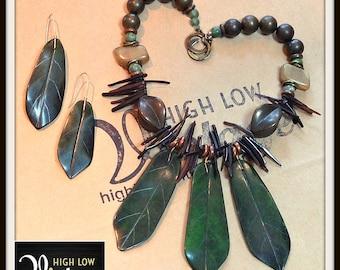 Vintage Les Bernard Leaf Necklace Earrings Demi Parure Set FREE SHIPPING
