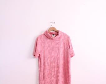 Pink Textured Turtleneck 80s Blouse