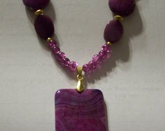 Purple stone and glass necklace