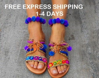 Greek Sandals ''Forget-me-not'' | Ankle Strap Boho Sandals | Pom Pom Sandals | Bohemian Shoes