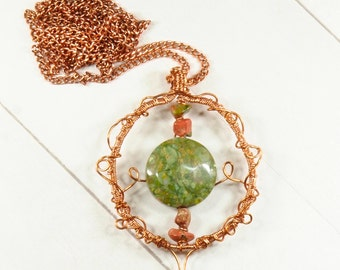 Elvish wire pendant - Wire wrapped necklace - Unakite necklace - Mystical jewelry - Elvish copper necklace - Statement jewelry