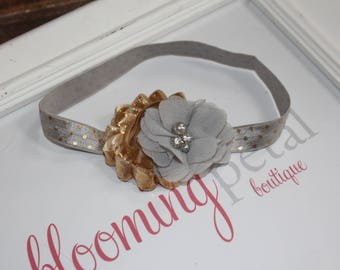 Metallic Silver Shabby Chic Newborn Infant Flower Headband