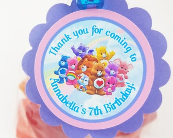 "Personalized Care Bears and Care Bears Cousins 2"" Scallop Favor Bag Tag"