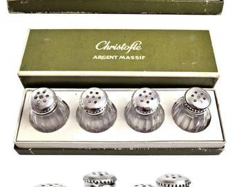 Vintage Christofle Sterling Top Salt/Pepper Shakers Set