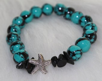 Boho Beaded Bracelet: Blue and Black Marble Beads with Starfish Charm