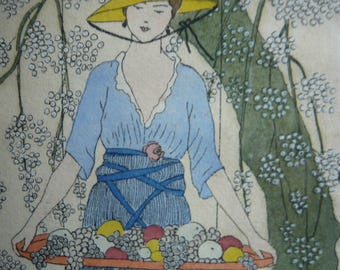 Lithography woman with blue clothing carrying a fruit tray TIFFANY style glycine ART DECORATIF marquetry frame  home decor gift for her