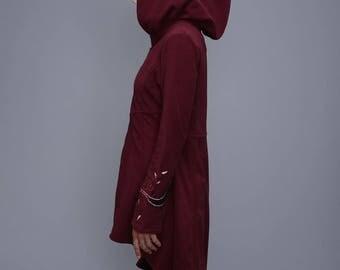 Long  fleece coat - Psy Long Jacket -  - Boho Long hoodie - Big  Hood jacket