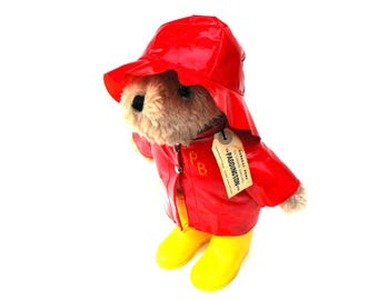 1975 Paddington Bear Red Raincoat, Hat and 1981 Yellow Galoshes Boots Vintage Eden Toys Collectible Teddy Darkest Peru to London England Tag