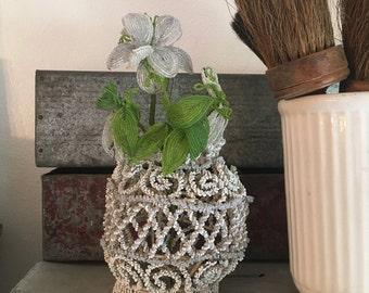 French Beaded memorial basket or vase