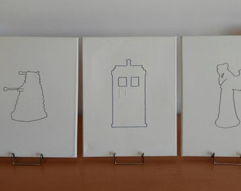 DISPLAY CANVASES** Doctor Who Inspired - Set of Three Embroidered Canvases