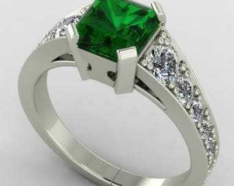Green Emerald and Diamond Ring, Emerald Cut Green Gemstone, Emerald Engagement Ring with Diamonds, 14K white Gold Set with 1.50ct Emerald