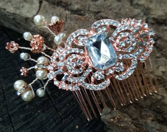 Bright Rose Gold Tone Bridal Hair Comb Rose Gold Rhinestone Comb Hair Piece Copper Comb Faux Pearl Updo Accessory Wedding Hair Pin ACC18