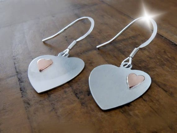 Silver and Copper Heart Earrings, Seventh Anniversary Gift, 7th Anniversary Gift, Silver and Copper Hearts, Silver and Copper Jewellery
