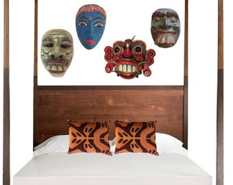 Vintage Carved Wood Mask Balinese 3D Wall Hanging Tribal Carnival Indonesia Meets Japan Ceremonial Head Bohemian Home Decor Ornate Eclectic
