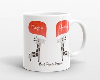 Best Friend Gift, Giraffe Mug, Personalized Best Friend Mug, Animal Best Friend Coffee Mug, Unique Friendship Gift Best Friend Birthday Gift