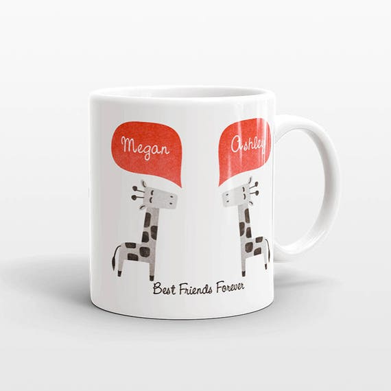 Best Friend Gift, Giraffe Mug, Personalized Best Friend Mug, Animal Best Friend Coffee Mug, Unique Friendship Gift Best Friend Birthday Gift
