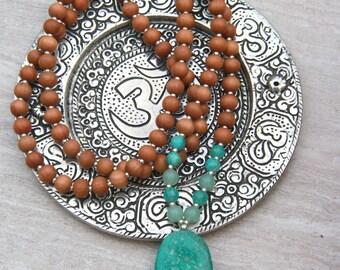 Russian Amazonite Sandalwood Mala - Mediation Inspired Yoga Beads BOHO jewelry/ necklace / mala beads