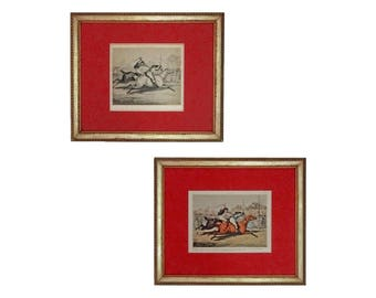 Alken Horse Races Drawing and Matching Etching - c. 1830's, England
