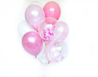 Confetti Balloon Set - Pink Peony - Shades of Pink Balloons - Pink Confetti Balloons - Pink Balloon Bouquet