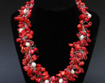 Crocheted wire red coral and fresh water pearl necklace