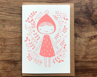 Pink girl screen printed greeting card