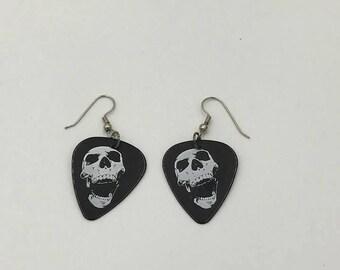 Skull Guitar Pick earrings, Skull earrings, Guitar Pick Earrings, Skull jewelry