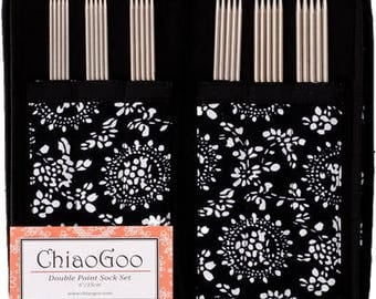"""ChiaoGoo Stainless Steel (SS) Double Pointed Needles (DPN) Sock Set, 6"""" (15 cm)"""