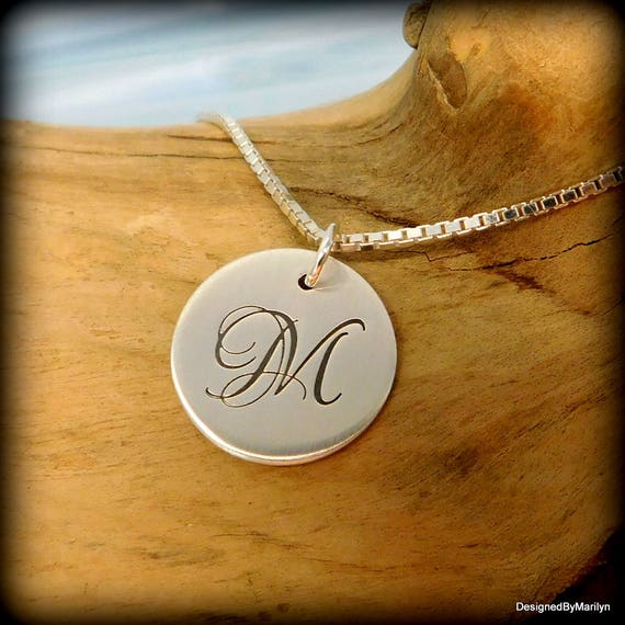 Sterling silver initial necklace, letter necklace, birthstone necklace, teen necklace, adult necklace hand stamped disc