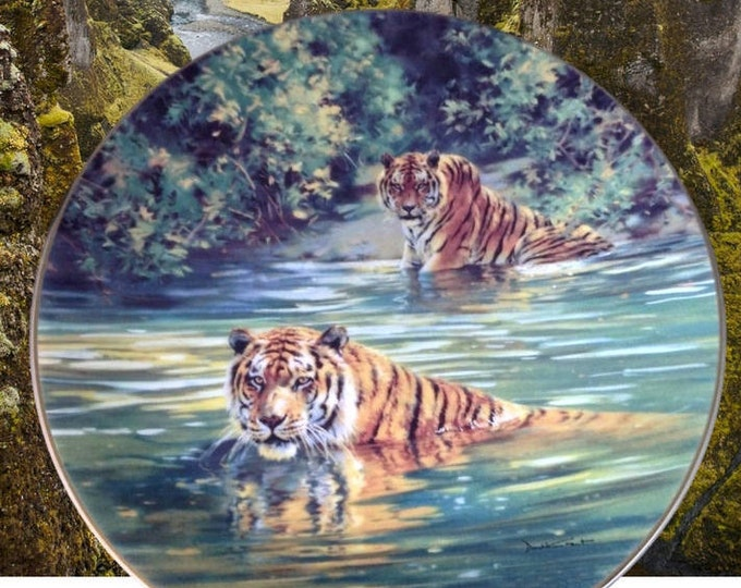 Wall Decor, Jungle Wall Art, Jungle Decor, Cool Cats Wall Plate, Sovereigns of Wild, Bradford Exchange Bengal Tiger Plate