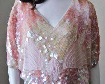 Pink sequin vintage butterfly blouse, beaded, 1970s, disco, clubwear, OS. Excellent condition.