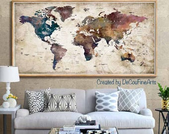 World map print etsy large world map poster printworld map wall artworld map art print gumiabroncs Gallery