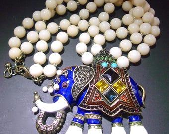Enamel Colorful Rhinestones Elephant Necklace, Moghul Double Bead Strand, Vintage