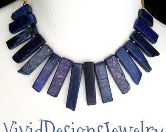 Navy Blue Jasper Spike Statement Necklace-  Dark Navy Blue Jasper Stick Necklace- Point Necklace- Turquoise Necklace Gemstone Necklace