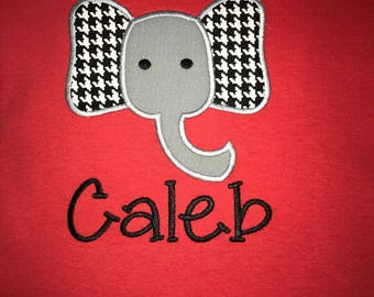 Personalized Boys Appliquéd Houndstooth Elephant T-Shirt